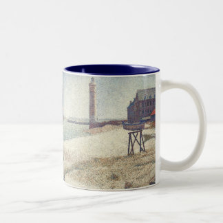 Hospice and Lighthouse, Honfleur by Georges Seurat Two-Tone Coffee Mug