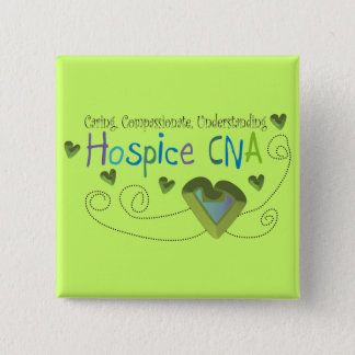 Hospice CNA Green Hearts Pinback Button