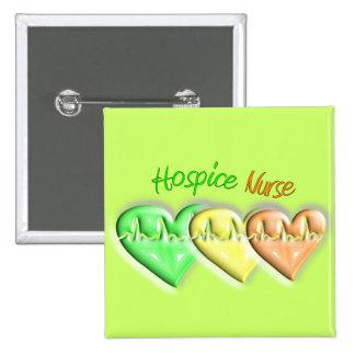 Hospice Nurse 3D Hearts Pinback Button