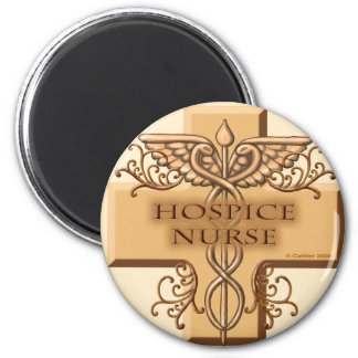 Hospice Nurse Caduceus 2 Inch Round Magnet