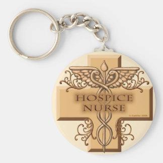 Hospice Nurse Caduceus Basic Round Keychain