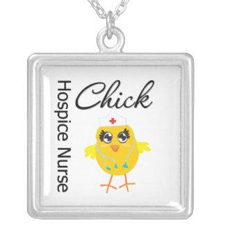 Hospice Nurse Chick v1 Square Pendant Necklace