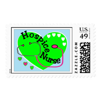 Hospice Nurse GREEN HEART STETHO Postage stamp