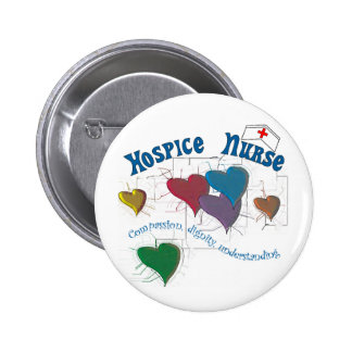 Hospice Nurse Multi Colored Hearts Pinback Button