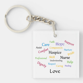 Hospice Nurse Square Key Chain