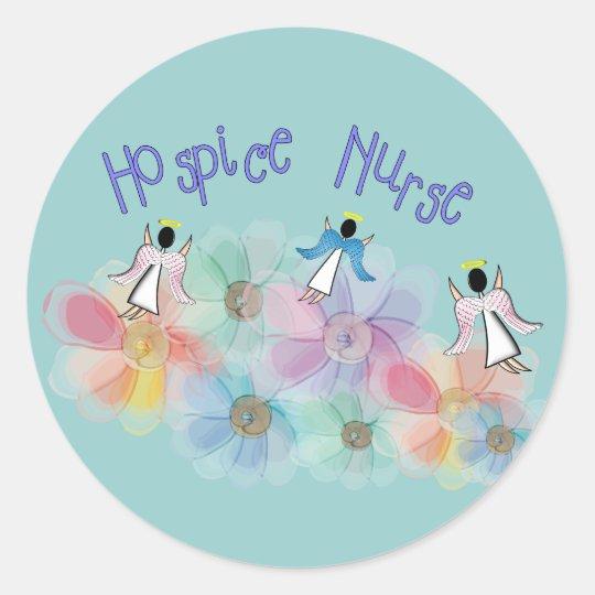 Hospice Nurse WHISPY Angels Design Classic Round Sticker
