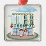 Hospital Adorno Navideño Cuadrado De Metal