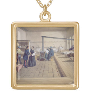 Hospital at Scutari, detail of Florence Nightingal Gold Plated Necklace