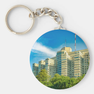 Hospital Building Exterior View, Montevideo Keychain