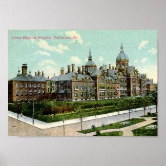 Hospital de Johns Hopkins vintage 1910 de Baltimo Posters