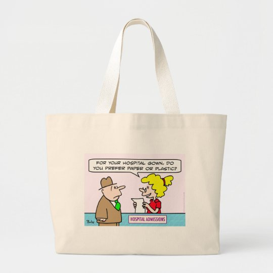 hospital gown paper plastic admissions large tote bag