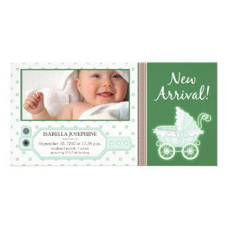 Hospital ID Tag Baby Birth Announcement: green Card