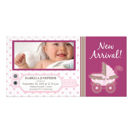 Hospital ID Tag Baby Birth Announcement: pink Photo Card