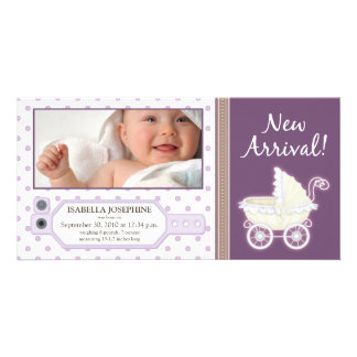 Hospital ID Tag Baby Birth Announcement: purple Card