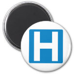 Hospital Zone Highway Sign 2 Inch Round Magnet