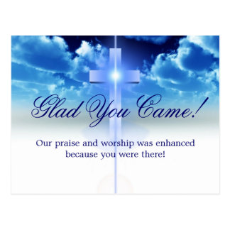 "Hospitality: Illuminated Cros ""Glad You Came"" Card"