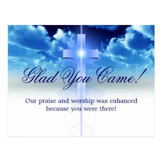 """Hospitality: Illuminated Cros """"Glad You Came"""" Card Postcard"""