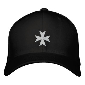 Hospitallers Black Embroidered Cross Hat