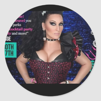 Host of drag star at sea classic round sticker