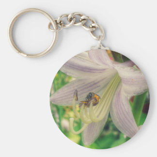Hosta and Insect Basic Round Button Keychain