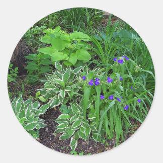 Hosta and Spiderwort Garden Classic Round Sticker