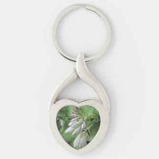 Hosta Closed Rain Garden Silver-Colored Heart-Shaped Metal Keychain