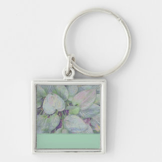 Hosta Harmonies Green Silver-Colored Square Keychain