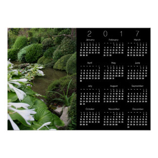 Hosta in Zen Garden Calendar Poster 2017