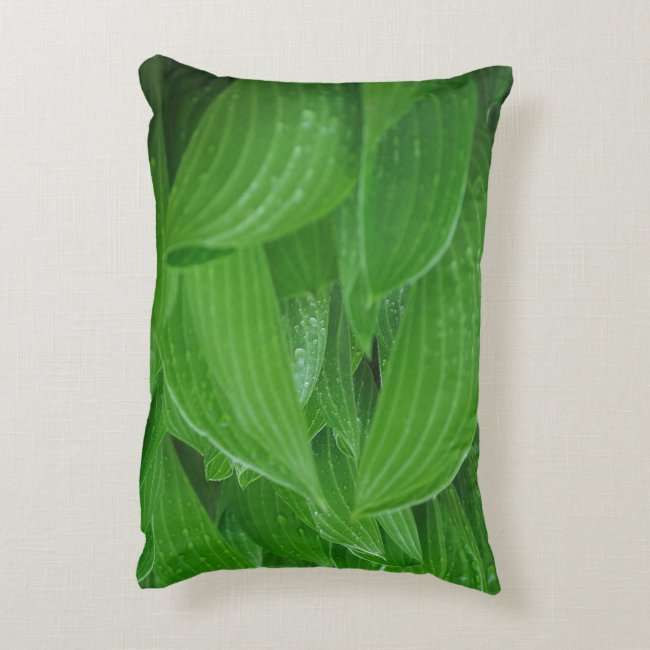 Hosta Leaves with Raindrops Accent Pillow