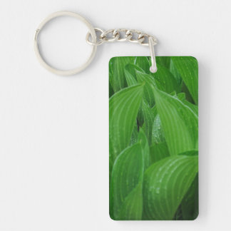 Hosta Leaves with Raindrops Acrylic Keychain