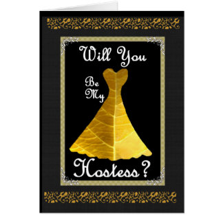 Hostess Wedding Invitation - GOLD Gown Greeting Card