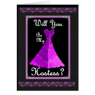 Hostess Wedding Invitation - PURPLE Gown Greeting Card