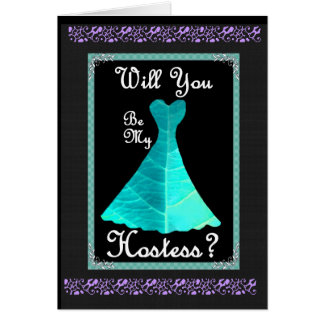 Hostess Wedding Invitation - TURQUOISE Gown Greeting Card
