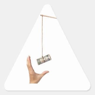 Hostigamiento con el dinero japonés pegatina triangular