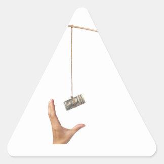 Hostigamiento con el dinero pegatina triangular