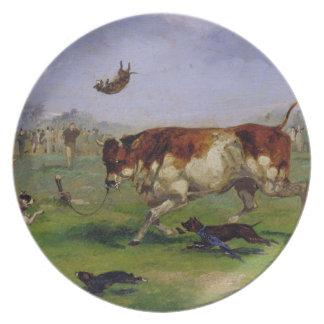 Hostigamiento de Bull (aceite en el papel puesto e Platos Para Fiestas