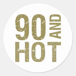 Hot 90th Birthday Classic Round Sticker