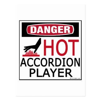 Hot Accordion Player Postcard