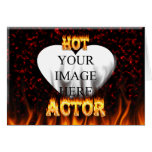Hot Actor fire and red marble Greeting Cards