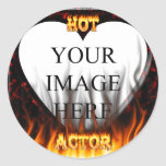 Hot Actor fire and red marble Round Sticker