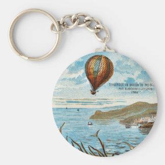 Hot Air Ballon Artwork Basic Round Button Keychain