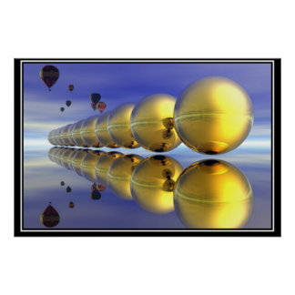 Hot Air Ballons and Gold  Poster Poster