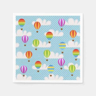 Hot Air Ballons in Cloudy Dotty Sky Napkin