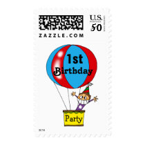 Hot air balloon 1st birthday party postage