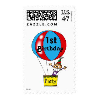 Hot air balloon 1st birthday party postage stamp