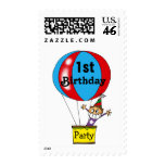 Hot air balloon 1st birthday party stamps