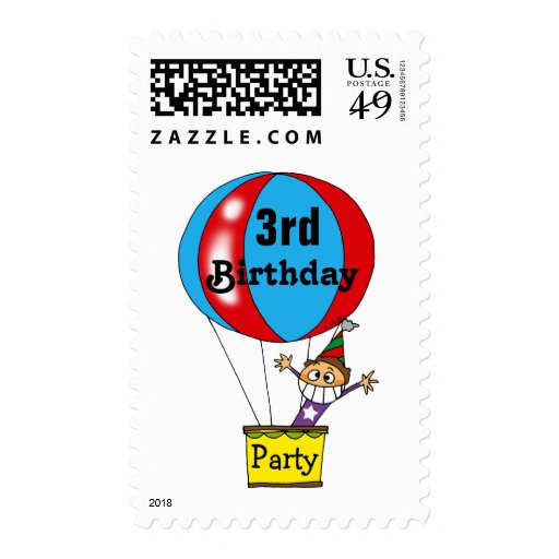 Hot air balloon 3rd birthday party postage