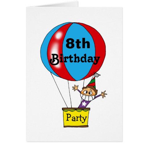 Hot air balloon 8th birthday party invitations greeting card