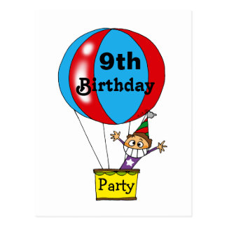 Hot air balloon 9th birthday party invitations post cards
