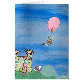 Hot air balloon above a magical fairy castle-Card Card